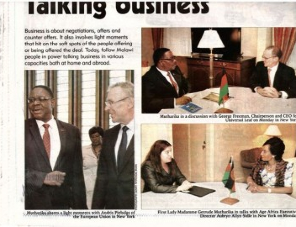 AGE Africa's Executive Director Meets with Malawi's First Lady